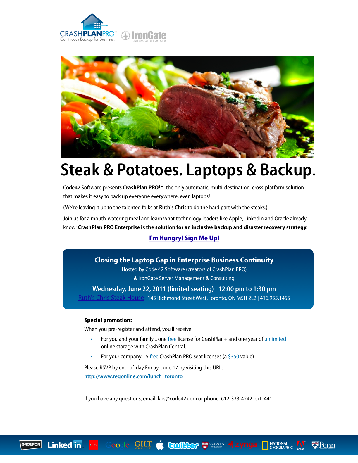 Toronto CrashPlan PROe Lunch and Learn